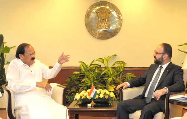 The Minister for Housing, Urban Development and Information Techonology, Sweden, Mehmet Kaplan meeting the Union Minister for Urban Development, Housing and Urban Poverty Alleviation and Parliamentary Affairs, M. Venkaiah Naidu to discuss the issues of mutual interest related to cooperation between India and Sweden, in New Delhi on October 14, 2015.