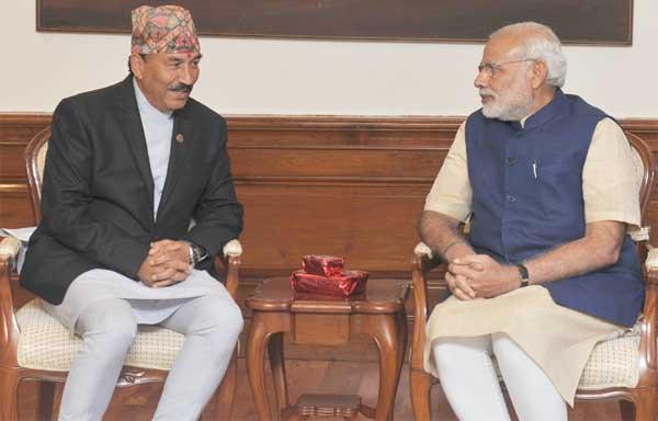 Deputy Prime Minister of Nepal, Kamal Thapa calls on the Prime Minister, Narendra Modi, in New Delhi on October 19, 2015.