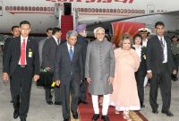 Vice President, Mohd. Hamid Ansari and Smt. Salma Ansari being received by the Vice-Minister for Foreign Affairs of Indonesia