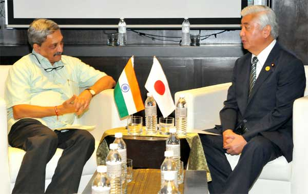 The Union Minister for Defence, Manohar Parrikar and his Japanese counter-part General Nakatani in a bilateral meeting, on the sidelines of the 3rd ASEAN Defence Ministers' Meeting (ADMM-plus), in Kuala Lumpur, Malaysia on November 03, 2015.