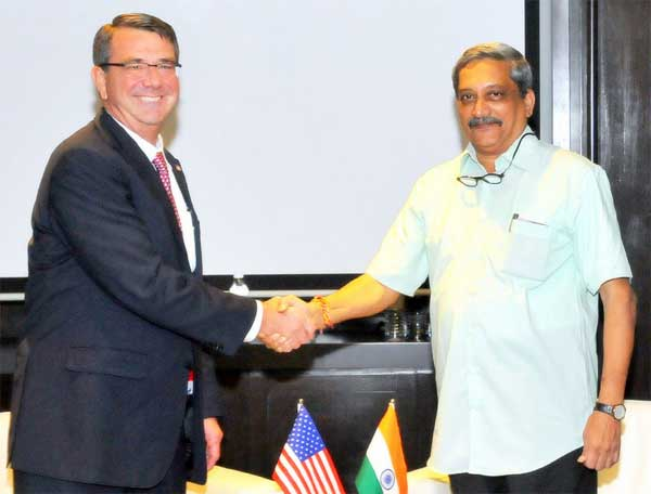 The Union Minister for Defence, Manohar Parrikar meeting the US Secretary of Defence Ashton Carter, on the sidelines of the 3rd ASEAN Defence Ministers' Meeting (ADMM-plus), in Kuala Lumpur, Malaysia on November 03, 2015.