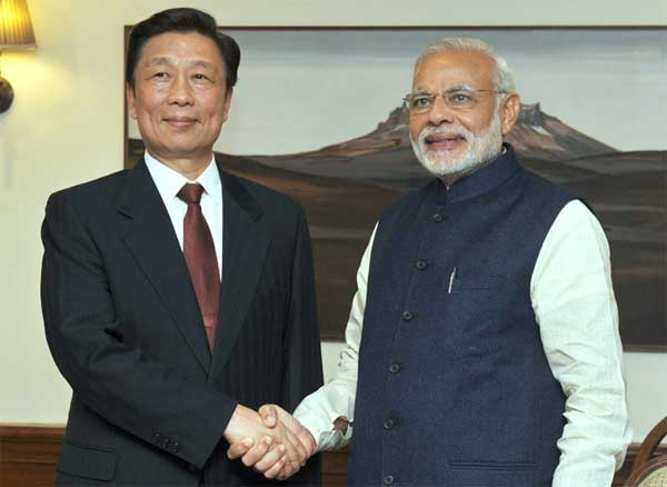 The Vice President of the People's Republic of China, Li Yuanchao meeting the Prime Minister, Narendra Modi, in New Delhi on November 06, 2015.