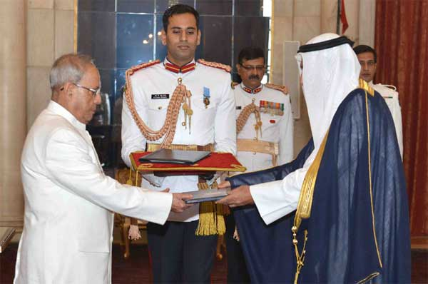 The Ambassador-designate of State of Kuwait, Fahad Ahmad Mohammad Al-Awadhi presenting his credential to the President, Pranab Mukherjee, at Rashtrapati Bhavan, in New Delhi on November 13, 2015.