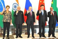 Prime Minister, Narendra Modi with other BRICS leaders at a meeting, on the sidelines of G20 Summit 2015, in Turkey