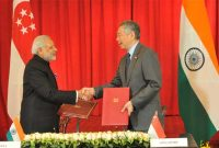 Prime Minister, Narendra Modi and the Prime Minister of Singapore, Lee Hsien Loong, during the signing ceremony