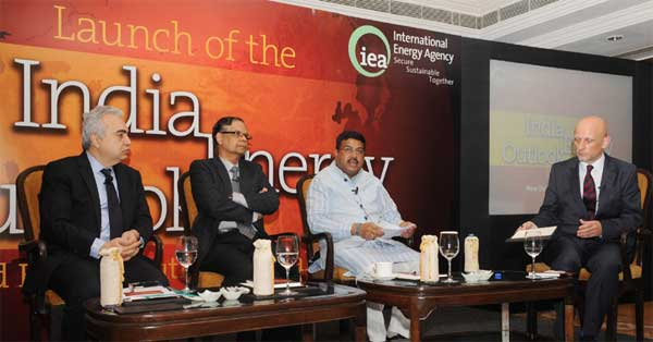 "The Minister of State for Petroleum and Natural Gas (Independent Charge), Dharmendra Pradhan speaking at the launch of the World Energy Outlook special report ""India Energy Outlook"", in New Delhi on November 27, 2015."