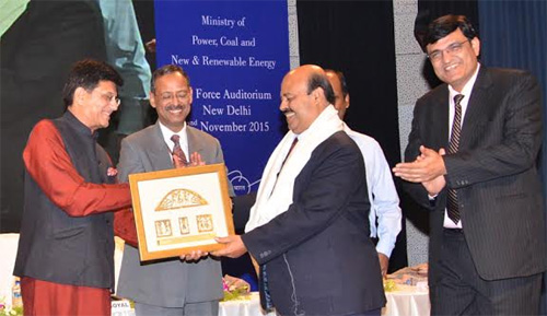 """Sarat Kumar Acharya, CMD, NLC being honoured by Shri Piyush Goyal, Hon'ble Union Minister of State with Independent Charge for Power, Coal and New & Renewable Energy in the presence of Shri Anil Swarup, Scretary, Ministry of Coal            at """" Felicitation Ceremony"""" for the Successful completion of construction of school toilets under Swach Bharat Abhiyan  held at Air force Auditorium"""