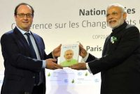 Prime Minister, Narendra Modi and the President of France, Francois Hollande at launch of the International Solar Alliance