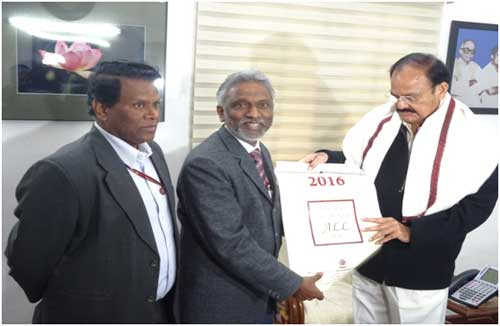The HUDCO Calendar and Diary 2016 were released by M Venkaiah Naidu, the Minister of Urban Development, Housing &Urban Poverty Alleviation &Parliamentary Affairs. Dr. M Ravi Kanth, CMD, HUDCO and PRK Naidu, CVO HUDCO, were present.