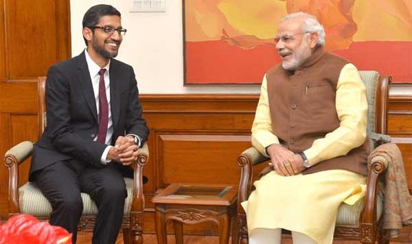 CEO of Google, Sundar Pichai calls on the Prime Minister, Narendra Modi, in New Delhi on December 17, 2015.