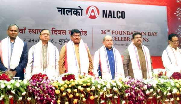 The Union Minister for Mines and Steel, Narendra Singh Tomar, the Union Minister for Tribal Affairs, Jual Oram, the Minister of State for Petroleum and Natural Gas (Independent Charge), Dharmendra Pradhan, the Minister of Steel & Mines, Odisha, Prafulla Mallick and other dignitaries at the 36th Foundation Day of NALCO, in Bhubaneswar on January 07, 2016.