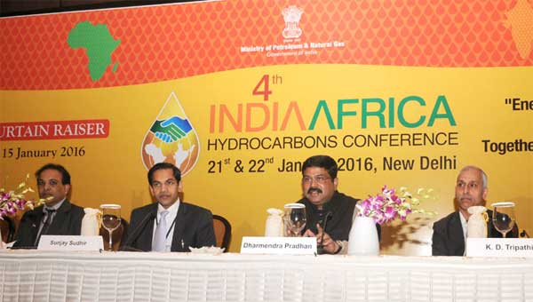 The Minister of State for Petroleum and Natural Gas (Independent Charge), Dharmendra Pradhan addressing the curtain-raiser press conference on the 4th India-Africa Hydrocarbons Conference, in New Delhi on January 15, 2016. The Secretary, Ministry of Petroleum and Natural Gas, K.D. Tripathi is also seen.