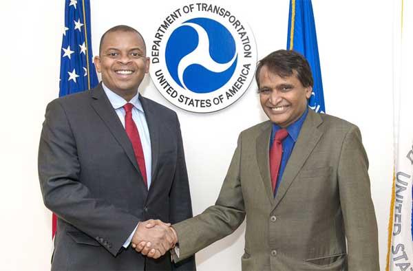 The Union Minister for Railways, Suresh Prabhakar Prabhu meeting the US Secretary of Transportation, Anthony Foxx, in Washington, DC on January 15, 2016.