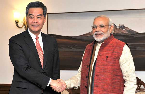 The Chief Executive of Hong Kong Special Administrative Region, CY Leung calls on the Prime Minister, Narendra Modi, in New Delhi on February 04, 2016.
