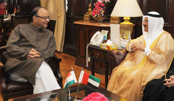 The Minister of Economy, UAE, Sultan Al Mansoori meeting the Union Minister for Finance, Corporate Affairs and Information & Broadcasting, Arun Jaitley, in New Delhi on February 10, 2016.