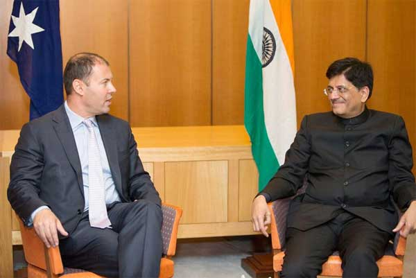 The Minister of State (Independent Charge) for Power, Coal and New and Renewable Energy, Piyush Goyal meeting the Australian Energy & Resources Minister, Josh Frydenberg, at the 3rd India Australia Energy Dialogue, at Canberra, Australia on February 10, 2016.