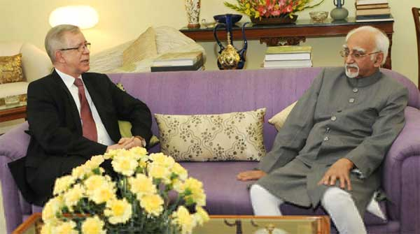 The Ambassador of the European Union to India, Tomasz Kozlowski calling on the Vice President, M. Hamid Ansari, in New Delhi on February 12, 2016.