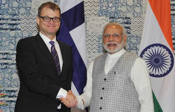 The Prime Minister, Narendra Modi holding bilateral talks with the Prime Minister of Finland, Juha Sipila, at the Make in India Centre, in Mumbai on February 13, 2016.