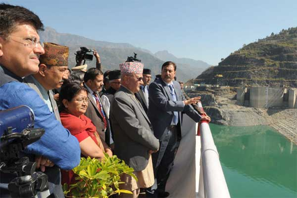 The Prime Minister of Nepal, K.P. Sharma Oli visiting the Tehri Hydro Power Complex, at Tehri, Uttarakhand on February 21, 2016. The Minister of State (Independent Charge) for Power, Coal and New and Renewable Energy, Piyush Goyal is also seen.