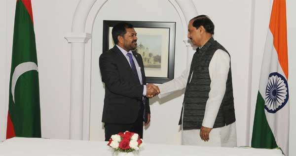 The Minister of Tourism, Republic of Maldives, Moosa Zameer meeting the Minister of State for Culture (Independent Charge), Tourism (Independent Charge) and Civil Aviation, Dr. Mahesh Sharma, in New Delhi on February 25, 2016.
