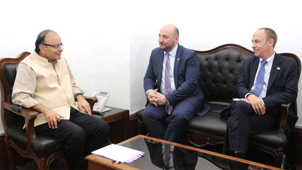 The Deputy Prime Minister and Minister for Economy, Luxembourg, Etienne Schneider meeting the Union Minister for Finance, Corporate Affairs and Information & Broadcasting, Arun Jaitley, in New Delhi on March 02, 2016.