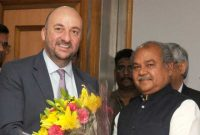 Deputy Prime Minister and Minister for Economy, Luxembourg, Etienne Schneider meeting the Minister for Mines and Steel, Narendra Singh Tomar