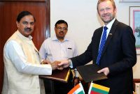 MoS for Culture (IC), Tourism (IC) and Civil Aviation, Dr. Mahesh Sharma and the Minister of Culture, Lithuania, Sarunas Birutis