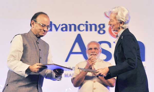 """The Prime Minister, Narendra Modi at MOF-IMF Conference on """"Advancing Asia: Investing for the Future"""", in New Delhi on March 12, 2016."""