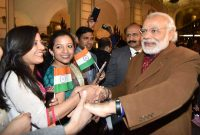Prime Minister, Narendra Modi being warmly welcomed by the people of Indian Community, on his arrival at Brussels,
