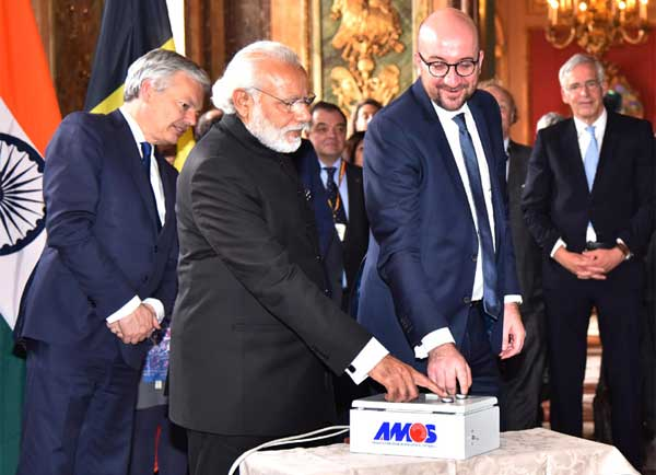 The Prime Minister, Narendra Modi and the Prime Minister of Belgium, Charles Michel, during the Remote Technical Activation of India-Belgium Aryabhatta Research Institute of Observational Sciences (ARIES) Telescope, in Brussels, Belgium on March 30, 2016.