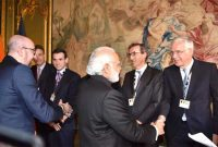 The Prime Minister, Narendra Modi along with the Prime Minister of Belgium, Charles Michel meeting the CEOs of Belgium