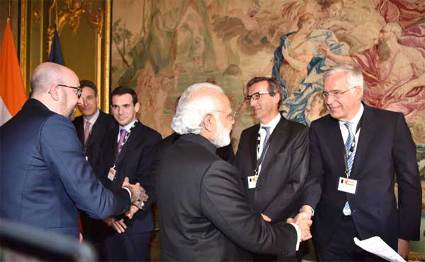 The Prime Minister, Narendra Modi along with the Prime Minister of Belgium, Charles Michel meeting the CEOs of Belgium companies, in Brussels, Belgium on March 30, 2016.