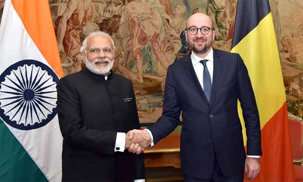 The Prime Minister, Narendra Modi meeting the Prime Minister of Belgium, Charles Michel at the Egmont Palace, in Brussels, Belgium on March 30, 2016.
