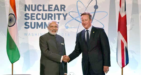 The Prime Minister, Narendra Modi meeting the Prime Minister of United Kingdom (UK), David Cameron, on the sidelines of the Nuclear Security Summit 2016, in Washington DC on April 01, 2016.