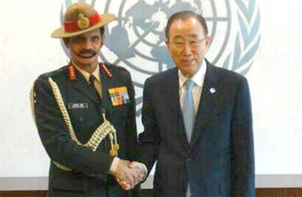 Chief of Army Staff, General Dalbir meeting the UN Secretary General, Ban Ki-moon, at UN Headquarters, in New York on April 05, 2016.