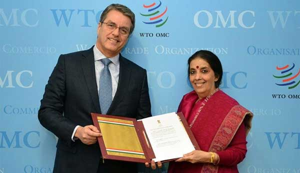 Anjali Prasad presents India''s instrument of acceptance ratifying the Trade Facilitation Agreement to WTO's Director General Roberto Azevedo