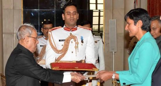 H.E. Ms. Harinder Kaur Sidhu, High Commisioner-designate of Australia presenting credentials to President of India, Shri Pranab Mukherjee