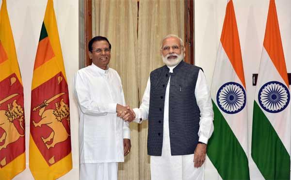 The President of the Democratic Socialist Republic of Sri Lanka, Maithripala Sirisena meeting the Prime Minister, Narendra Modi, at Hyderabad House, in New Delhi on May 13, 2016.