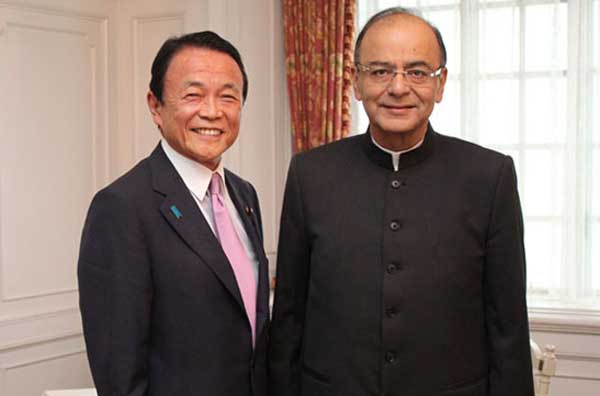 The Union Minister for Finance, Corporate Affairs and Information & Broadcasting, Arun Jaitley meeting the Deputy Prime Minister and Finance Minister of Japan, Taro Aso, in Tokyo, Japan on May 29, 2016.