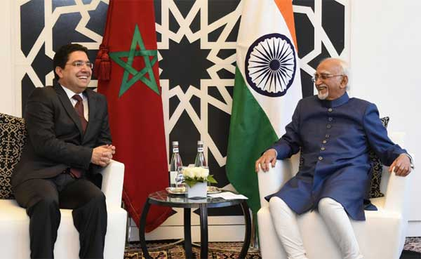 The Minister of State for Foreign Affairs, Morocco, Nasser Bourita calling on the Vice President, M. Hamid Ansari, in Rabat, Morocco on May 30, 2016.