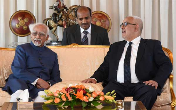 The Vice President, M. Hamid Ansari with the Prime Minister of Morocco, Abdelilah Benkirane on his arrival, at Sale International Airport, in Rabat, Morocco on May 30, 2016.