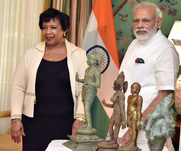 Prime Minister, Narendra Modi at the ceremony for return of idols with US Attorney General, in Washington DC on June 06, 2016.
