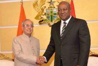 President, Pranab Mukherjee meeting the President of the Republic of Ghana, John Dramani Mahama, at Flagstaff House