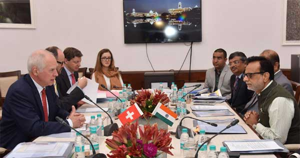 The Secretary, Department of Revenue, Dr. Hasmukh Adhia in a meeting with the State Secretary for International Financial Matters of Switzerland, Jacques De Wattaville, in New Delhi on June 15, 2016.