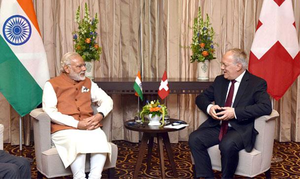 Prime Minister Narendra Modi with the President of the Swiss Confederation, Mr. Johann Schneider-Ammann, in Geneva