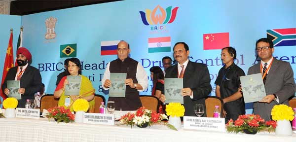 The Union Home Minister, Rajnath Singh releasing the publication at the inauguration of the BRICS Heads of Drug Control Agencies Working Group Meeting, in New Delhi on July 08, 2016. The Secretary, Ministry of Social Justice and Empowerment, Anita Agnihotri and other dignitaries are also seen.