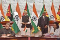 Prime Minister, Narendra Modi and the President of Mozambique, Filipe Nyusi witnessing the signing of agreements,