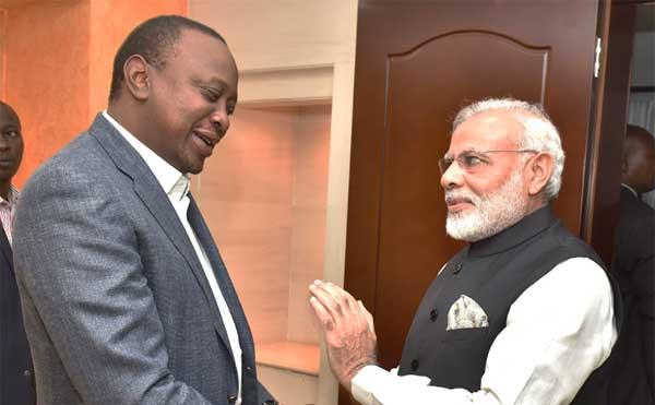 The Prime Minister, Narendra Modi meeting the President of Kenya, Uhuru Kenyatta before the community event, at Kasarani Stadium, in Nairobi, Kenya on July 10, 2016.
