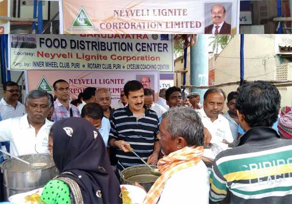 NLC makes a humble beginning of its CSR  activities  in the State of Odisha by distributing   free hygienic food and  water  to the visiting  pilgrims during  the holy Rath Yatra of Lord Jagannath at Puri,Odisha on 14th of July 2016.