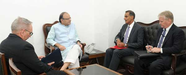 The US Ambassador to India, Richard R. Verma calling on the Union Minister for Finance and Corporate Affairs, Arun Jaitley, in New Delhi on July 19, 2016.